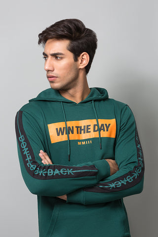 """Win the Day"" Green Hoodie"