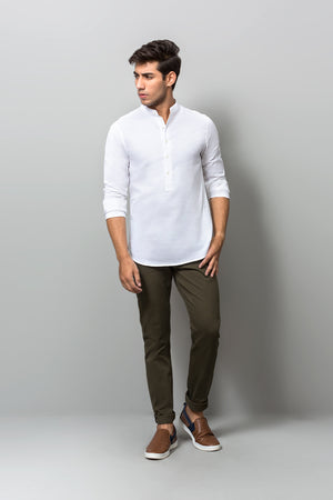 Band Collar White Shirt