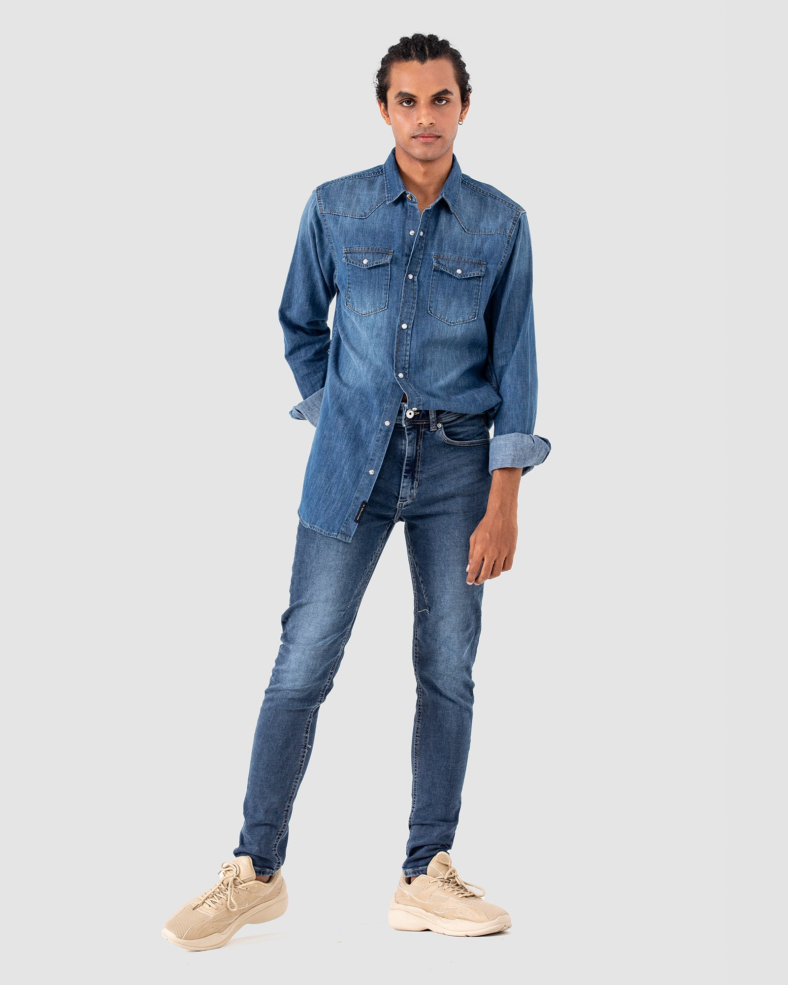 Western Style Denim Shirt with Flap Pockets
