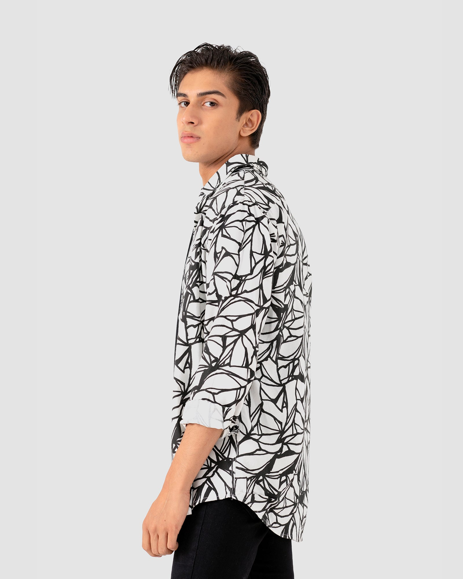 Abstract Print Button Down Shirt