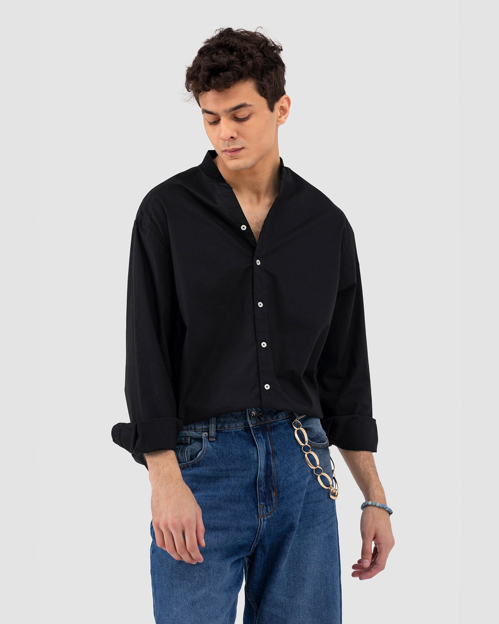 Band Collar Button Down Shirt