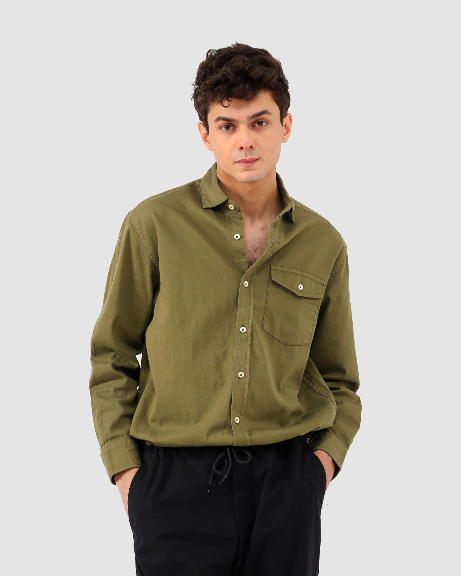 Textured Shirt with Flap Pockets