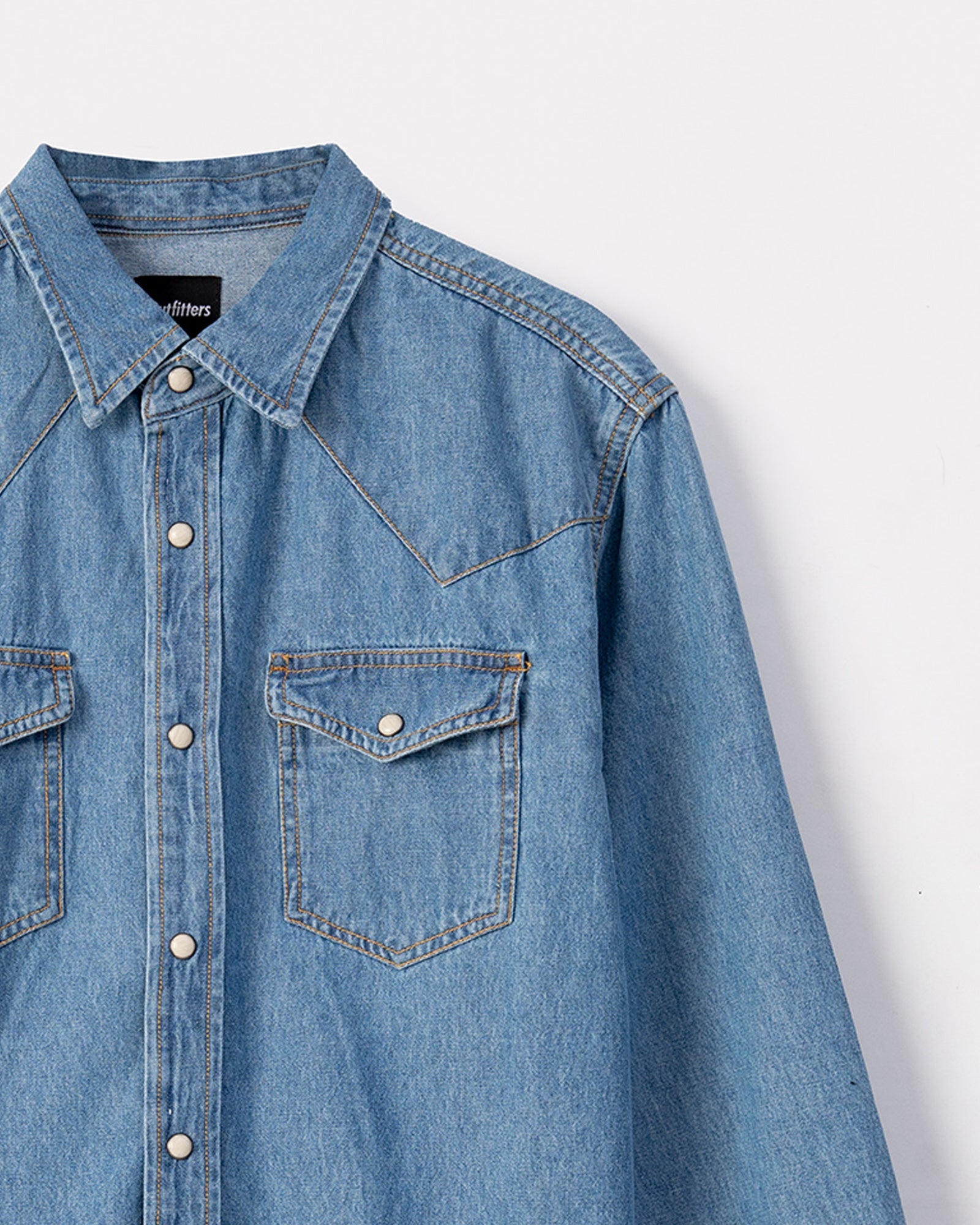 Western Styled Denim Shirt with Press Buttons