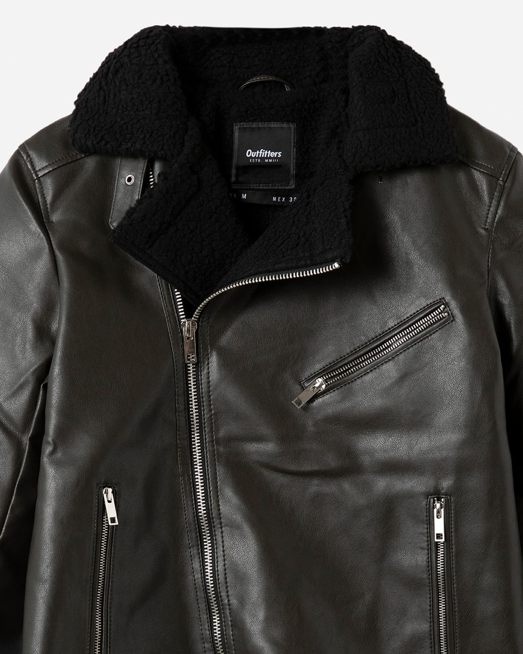 Leather Biker with Fur Lapel