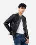 Band Collar Perforated Biker Jacket