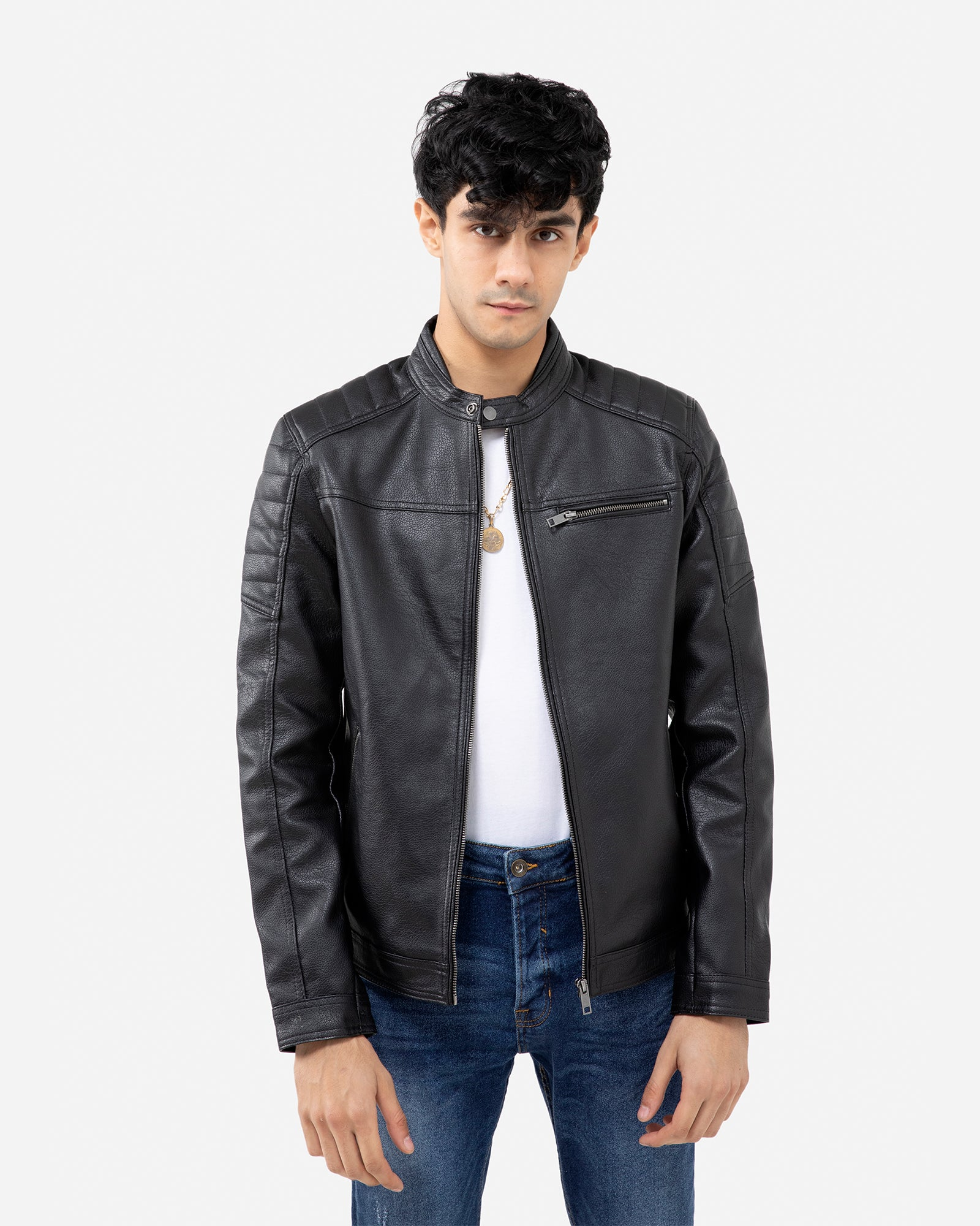 Textured Biker with Band Collar