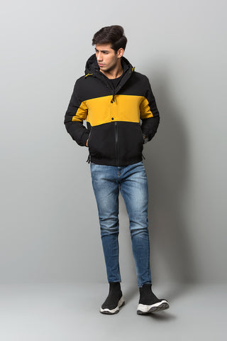 BLACK YELLOW HOOD JACKET