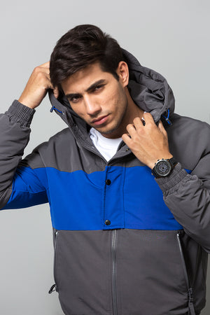 Contrast panelled hooded jacket in in Blue