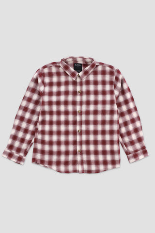 Plaid Flannel Shirt Maroon/White