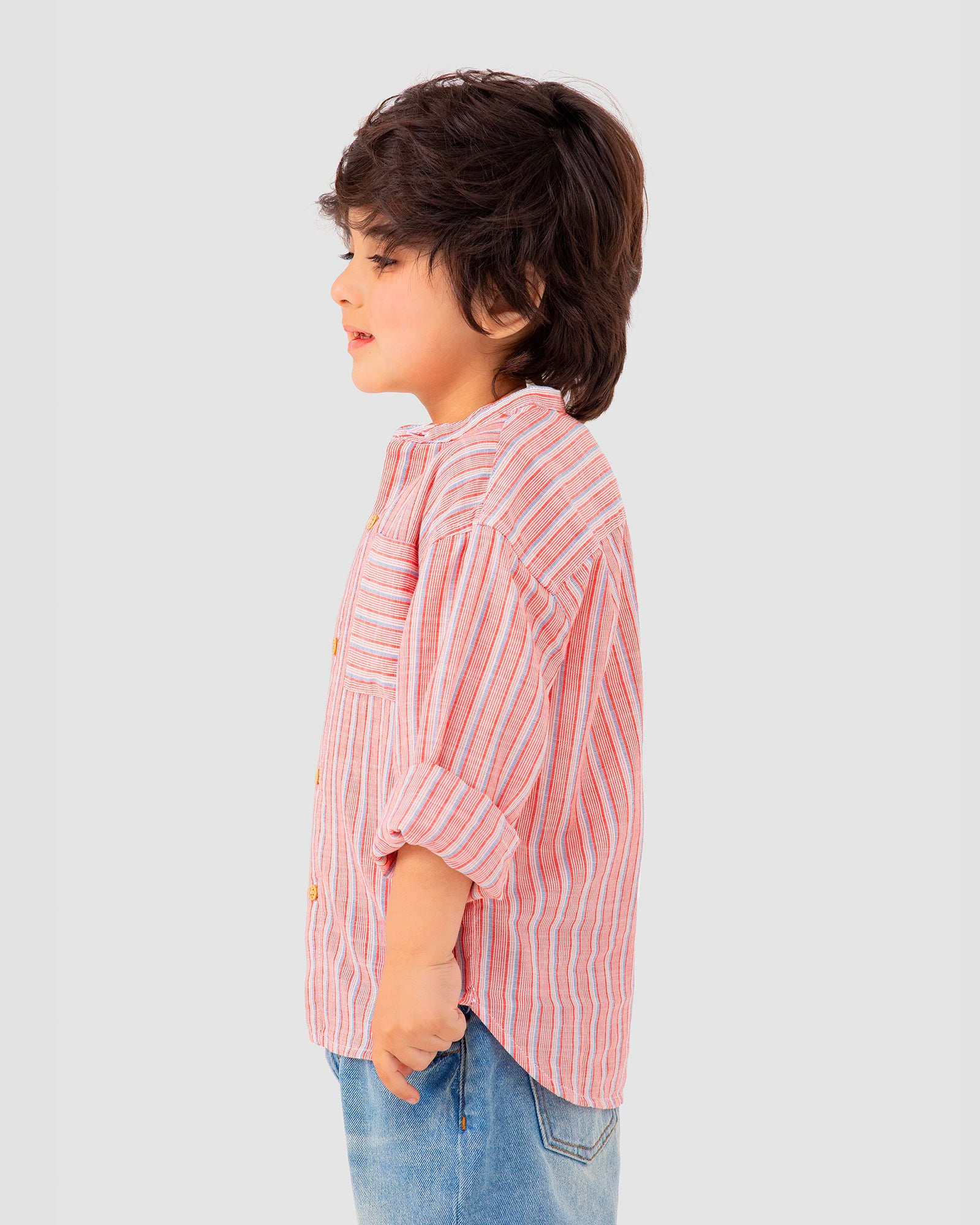 Band Collar Striped Shirt