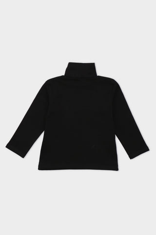 Black T-shirt with a casual High neck design