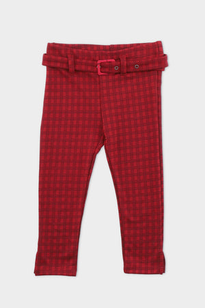 Maroon Check Trouser
