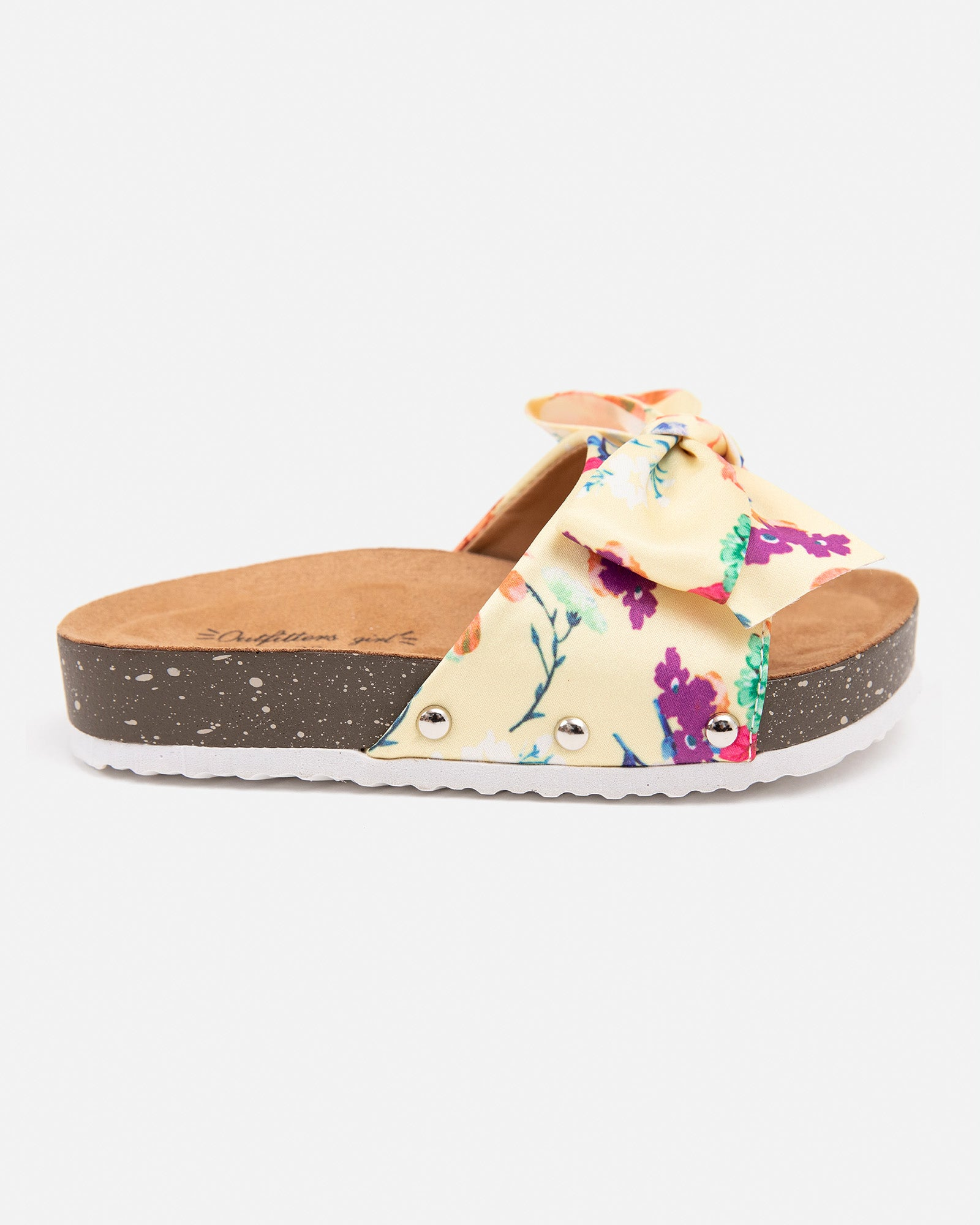 Floral open sandals with chunky sole