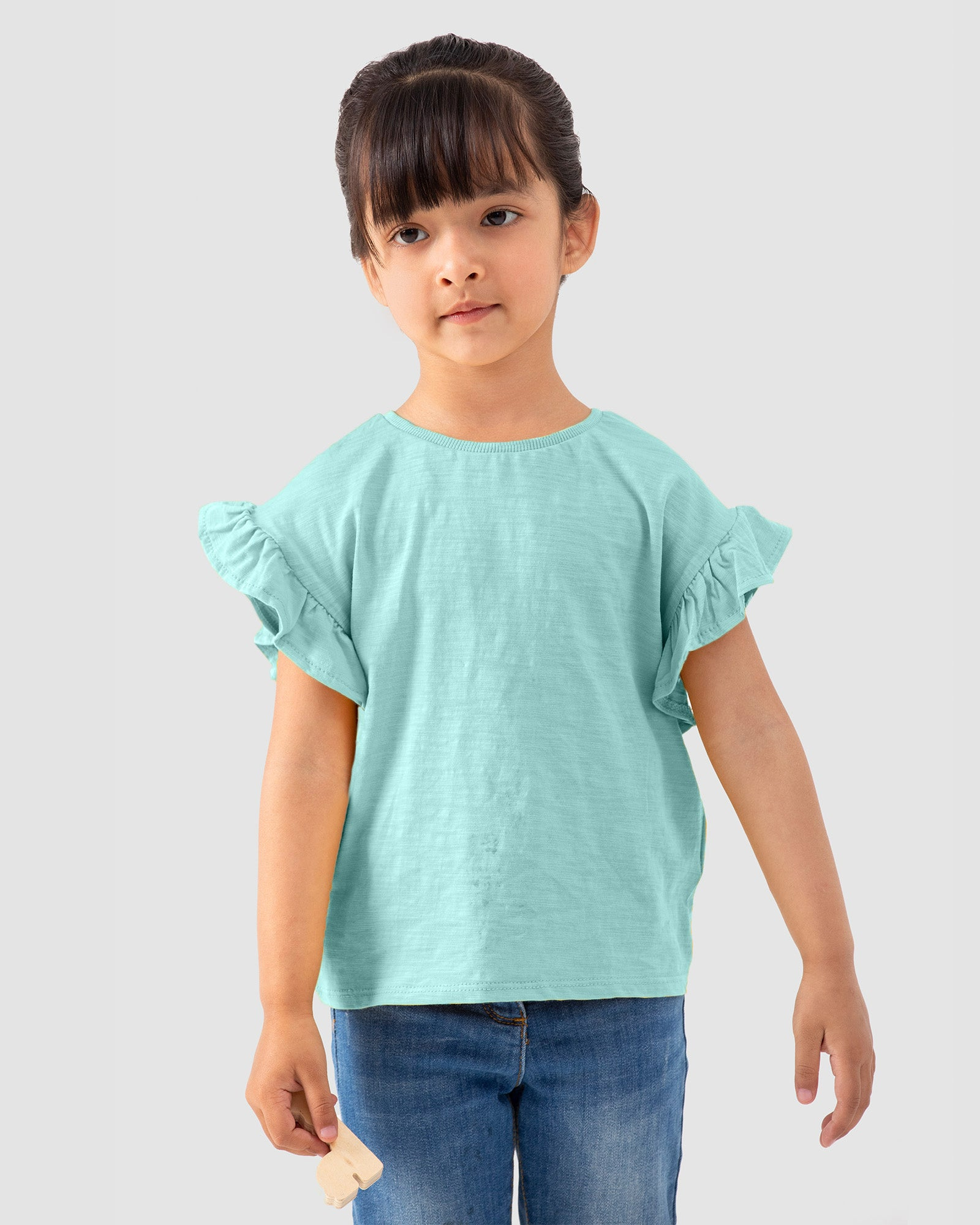 Tee with Ruffle Sleeves