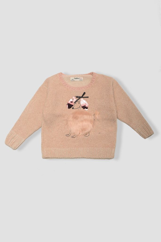 Embossed design poodle sweater