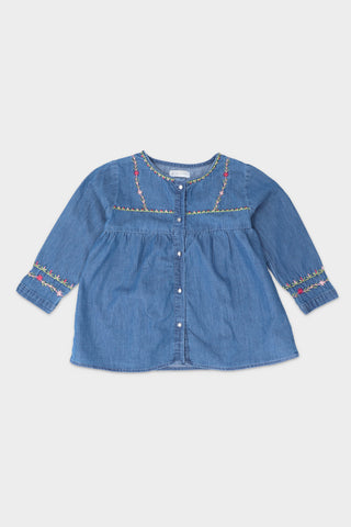 Embroidered Denim Dress Shirt