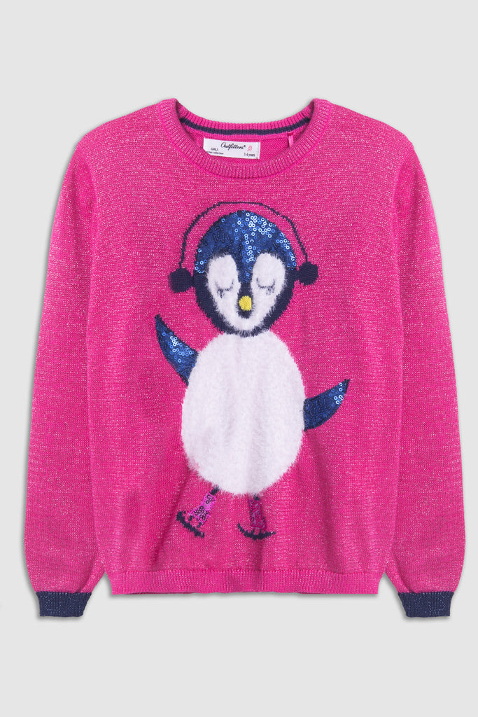 Embossed design penguin sweater
