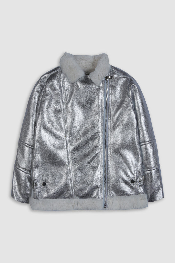 Metallic Faux Fur jacket