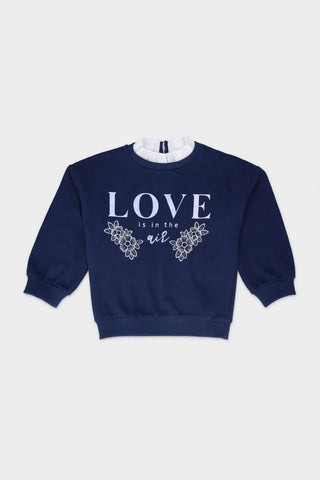 "High Neck ""Love In the Air"" Navy Sweatshirt"