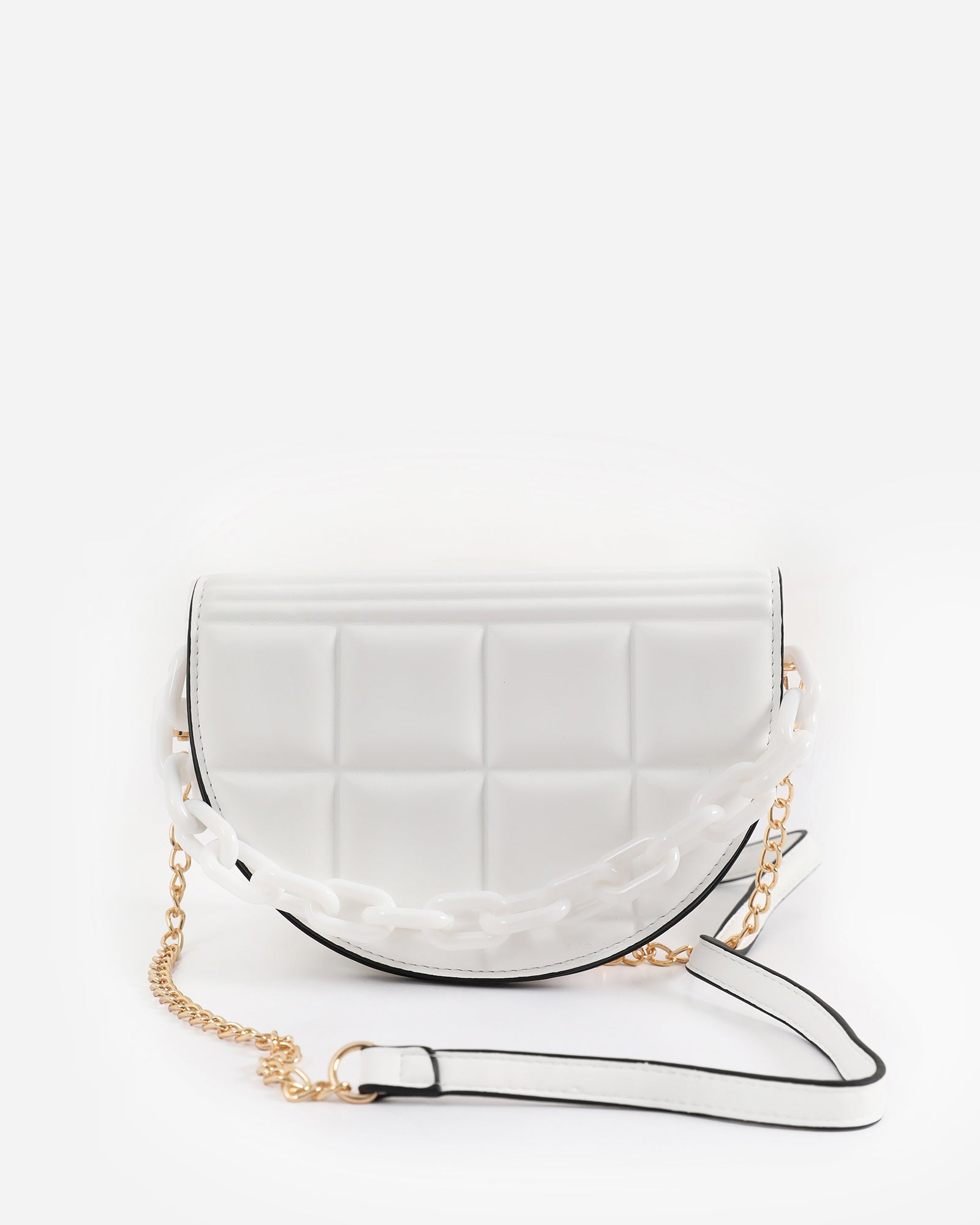 Quilted Cross Body with Chunky Chain Sling