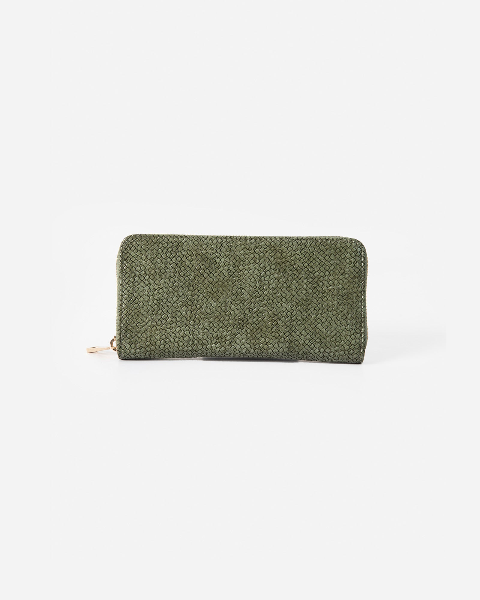 Croc Textured Zipper Wallet