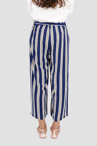 Blue and White Wide Trouser