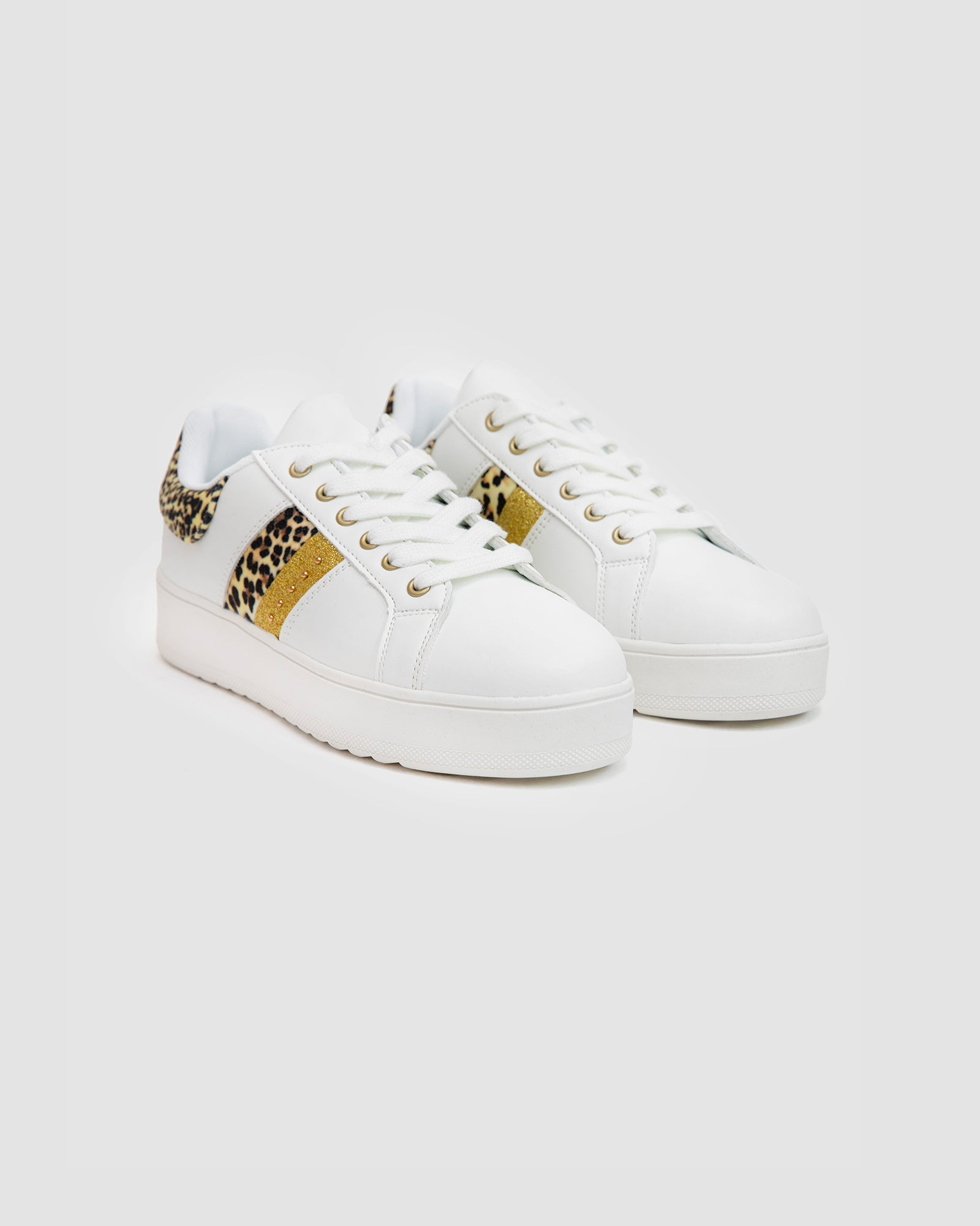 Platform Sole Sneakers with Animal Print