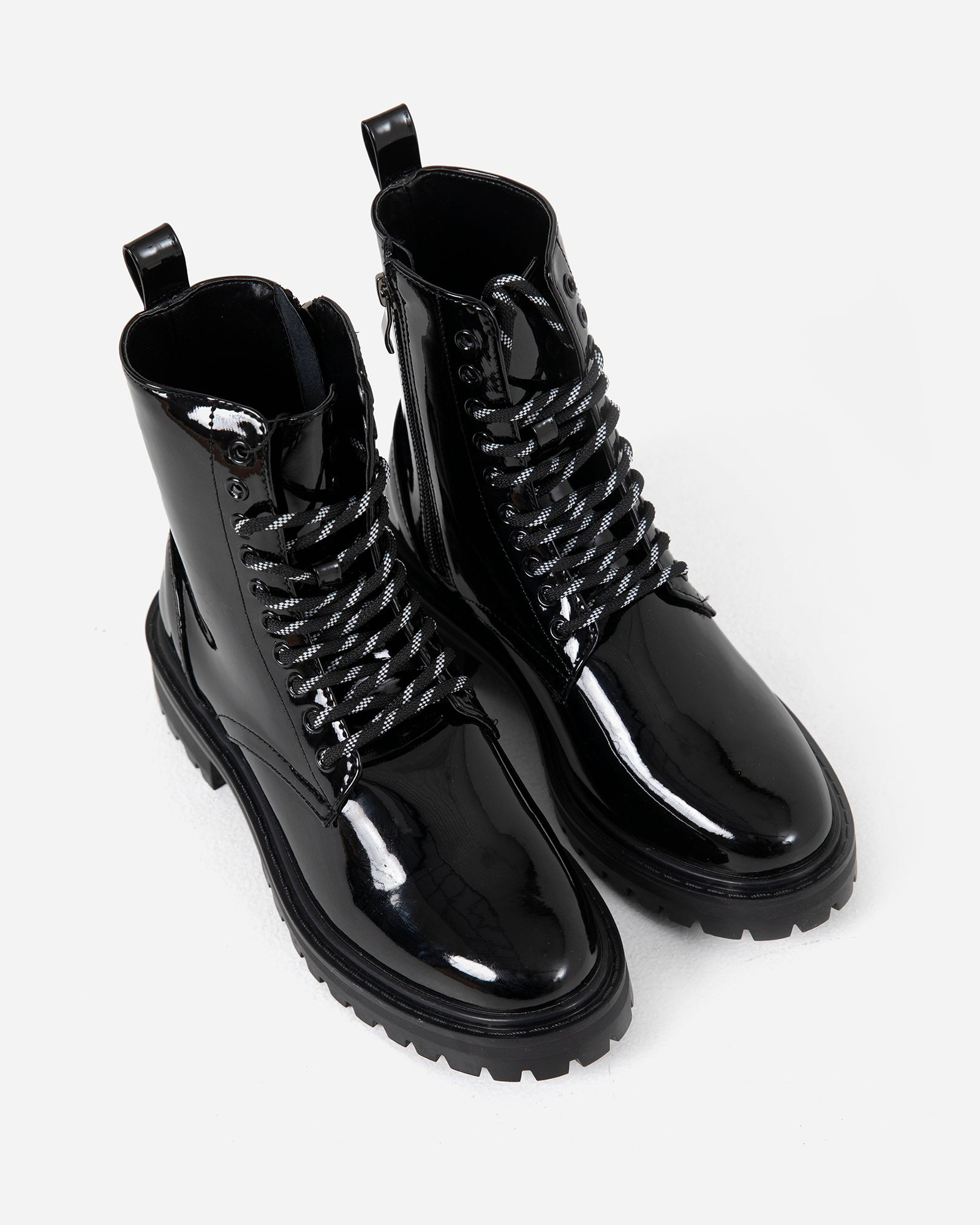 Patent Combat Boots with Contrast Laces