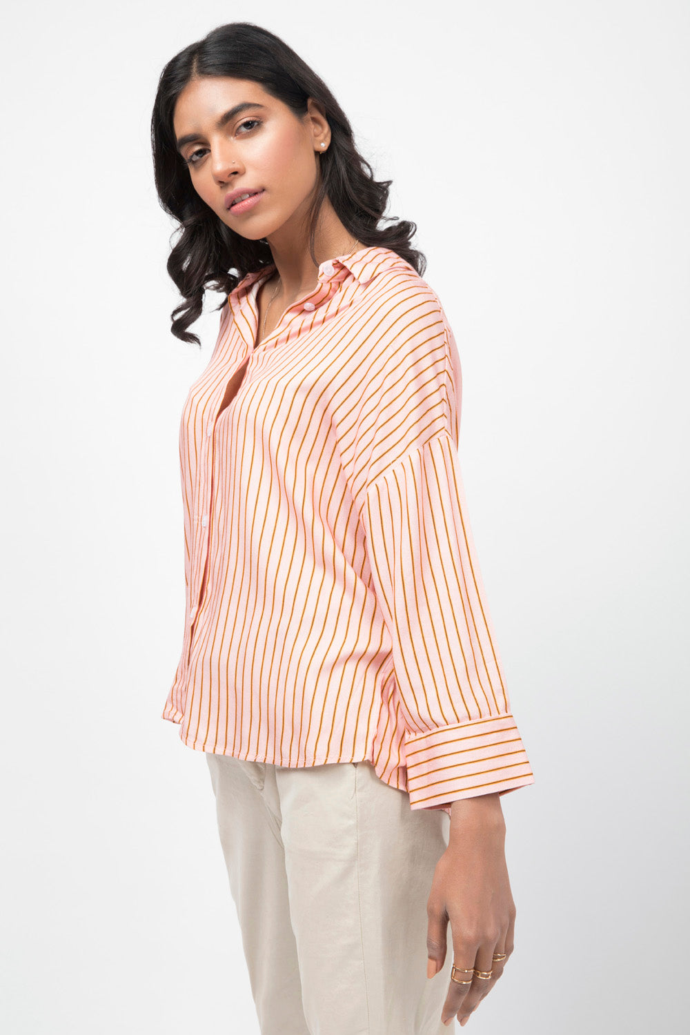 Striped Shirt with Drop Shoulders