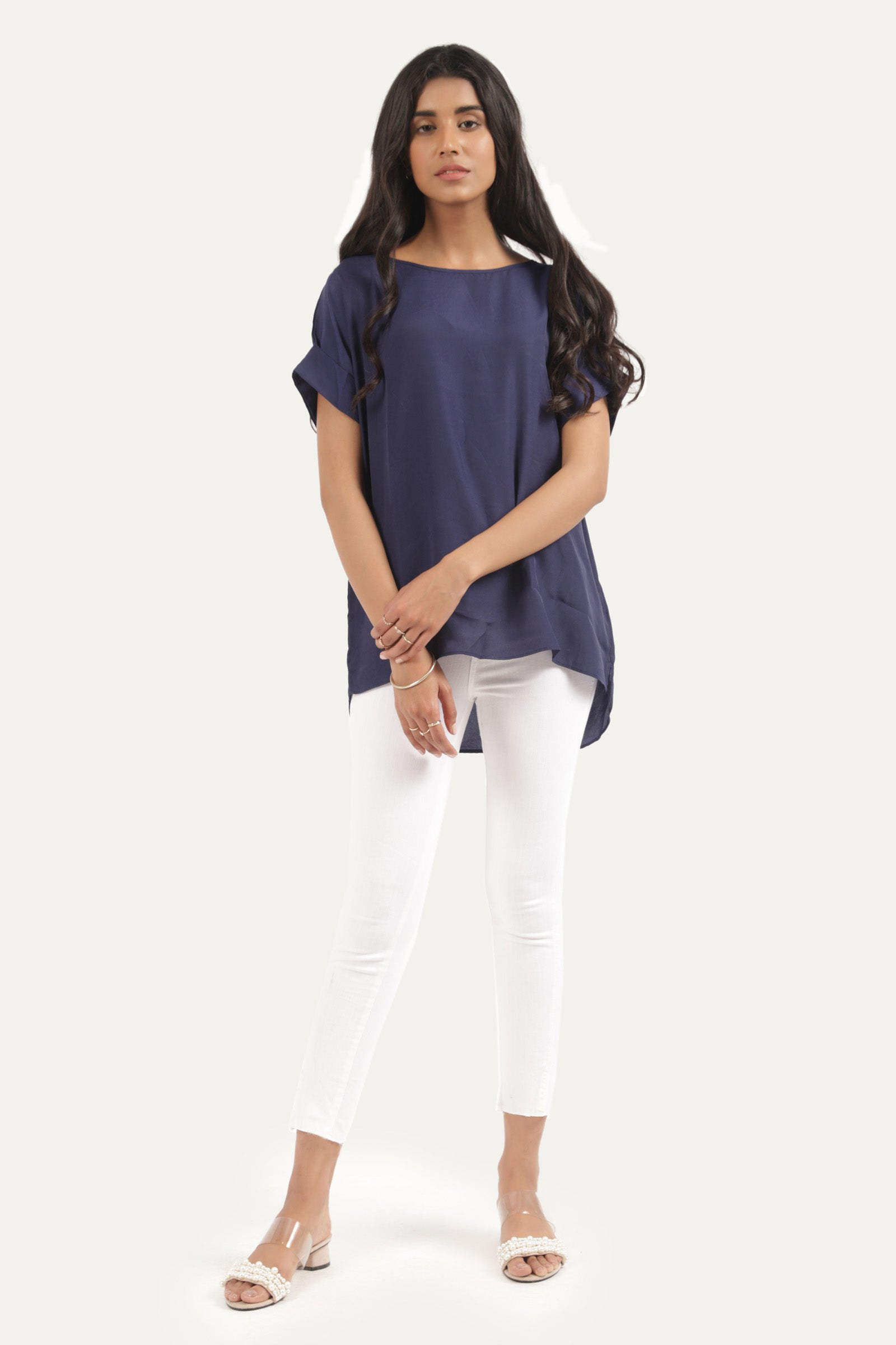 Relaxed Fit Shirt with Turned-Up Sleeves