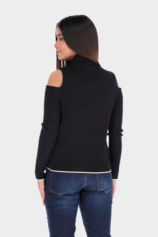 Cold shoulder turtle neck top