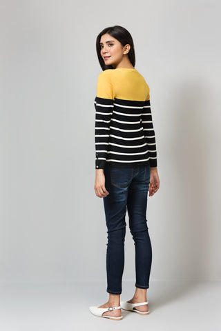 Regular Fit Full Sleeves Striped Sweater