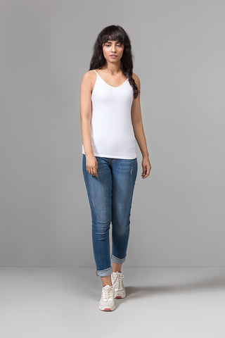WHITE PLAIN SLEEVELESS T-SHIRT