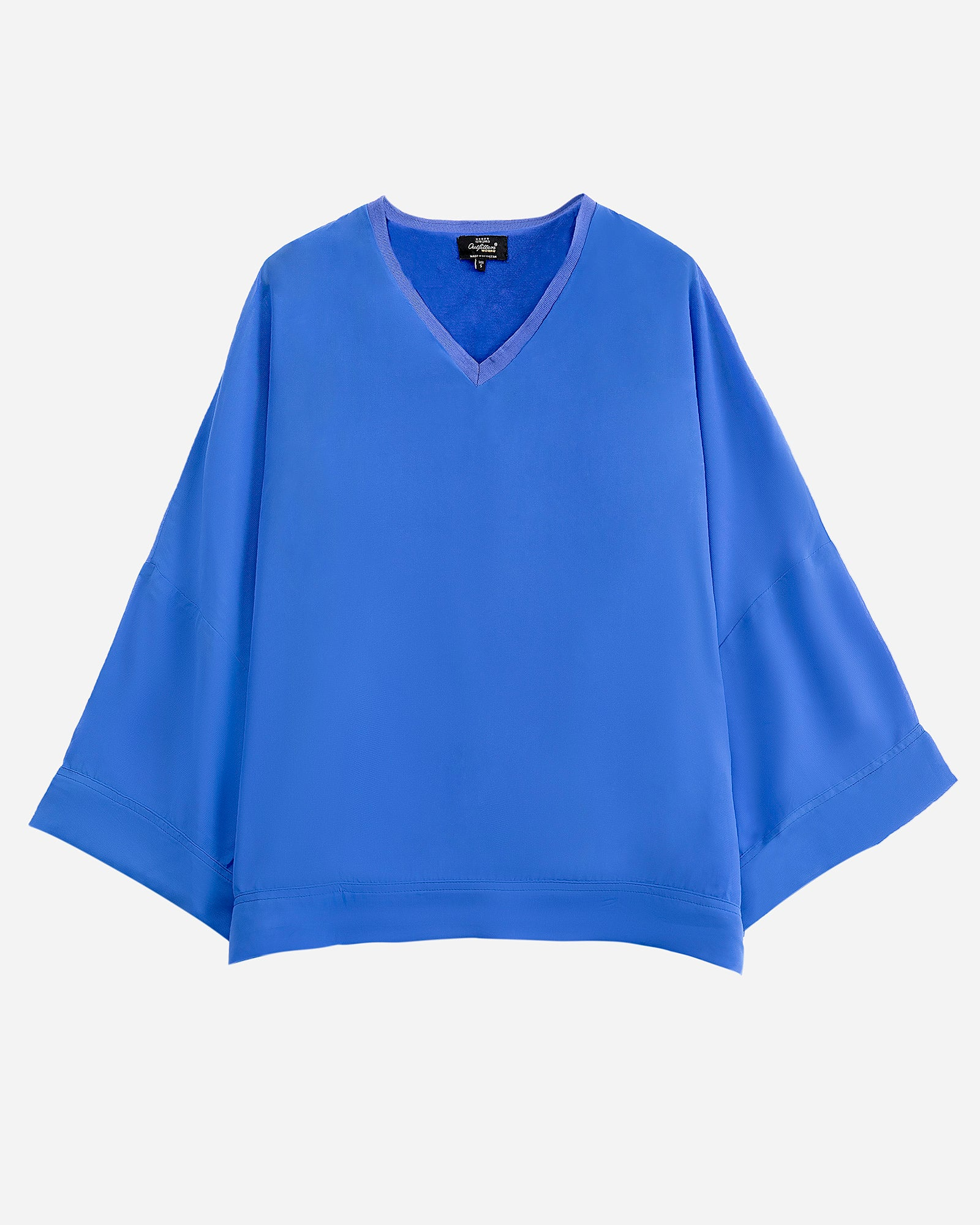 Loose Fit Top with Ribbed Neck
