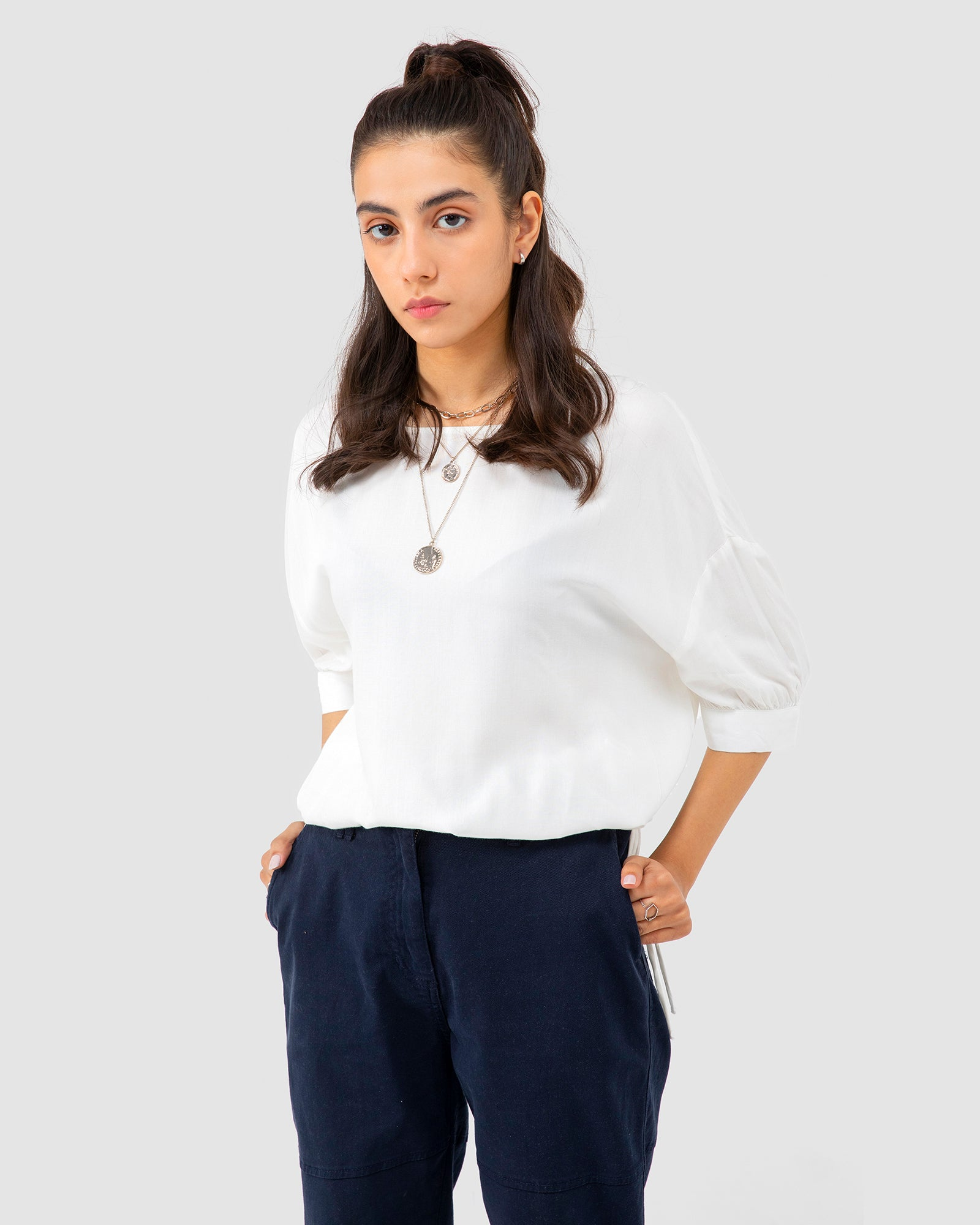 Plain Blouse with Tie-up