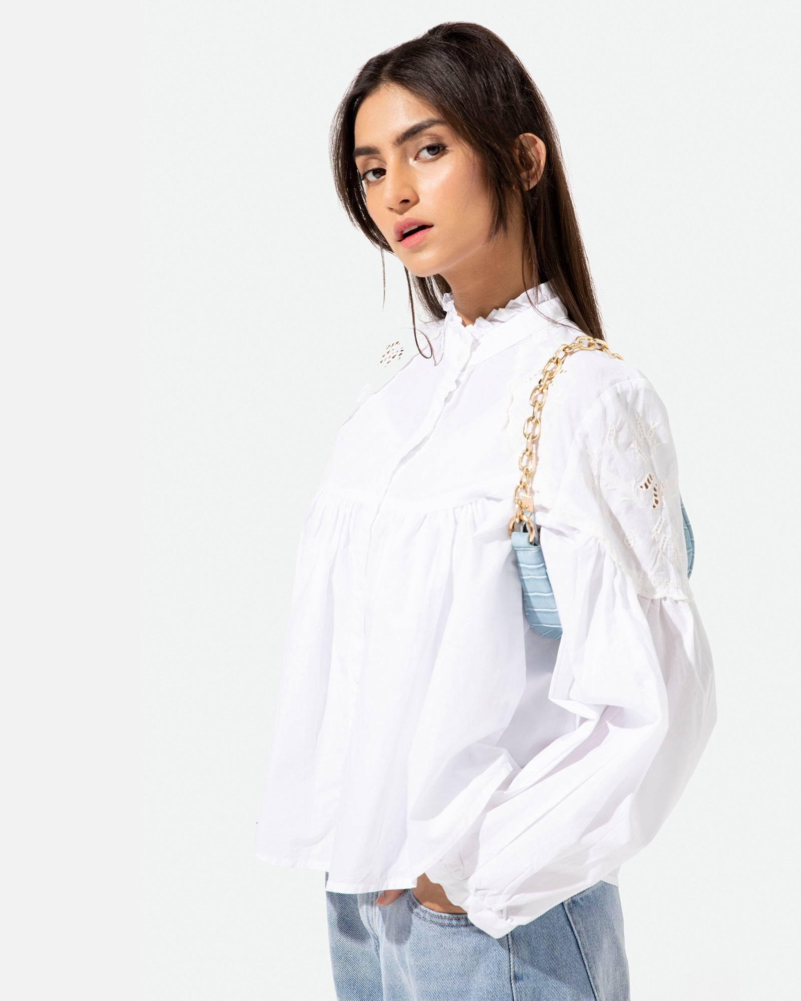 Embroidered Blouse with Ruffle Neck Detail