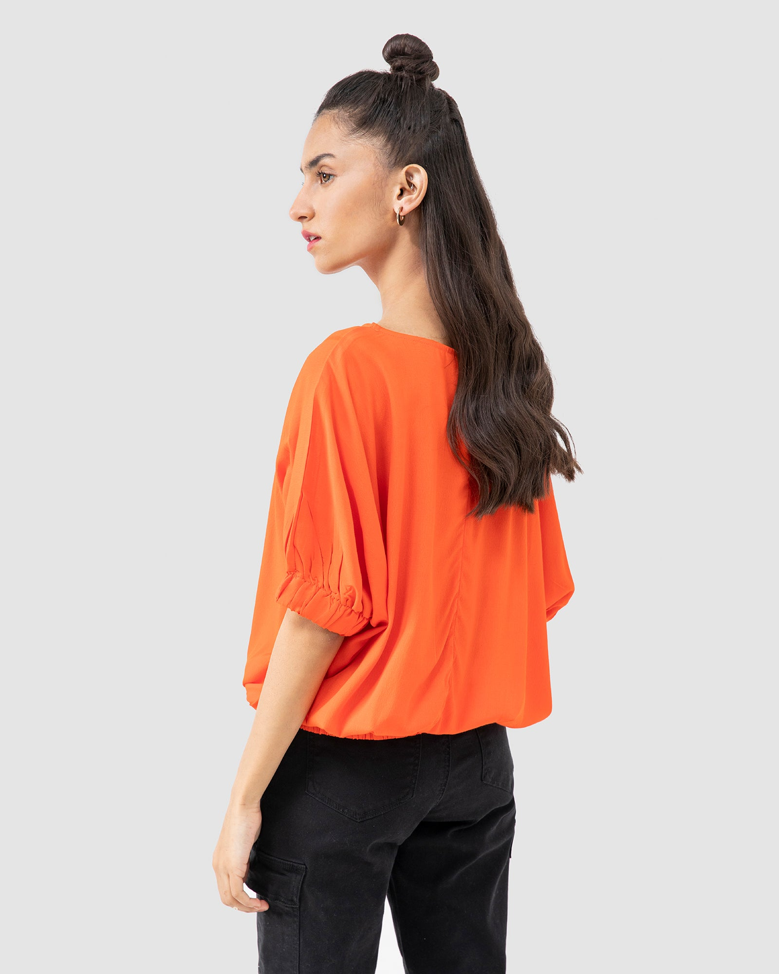 Blouse with Puffed Hems