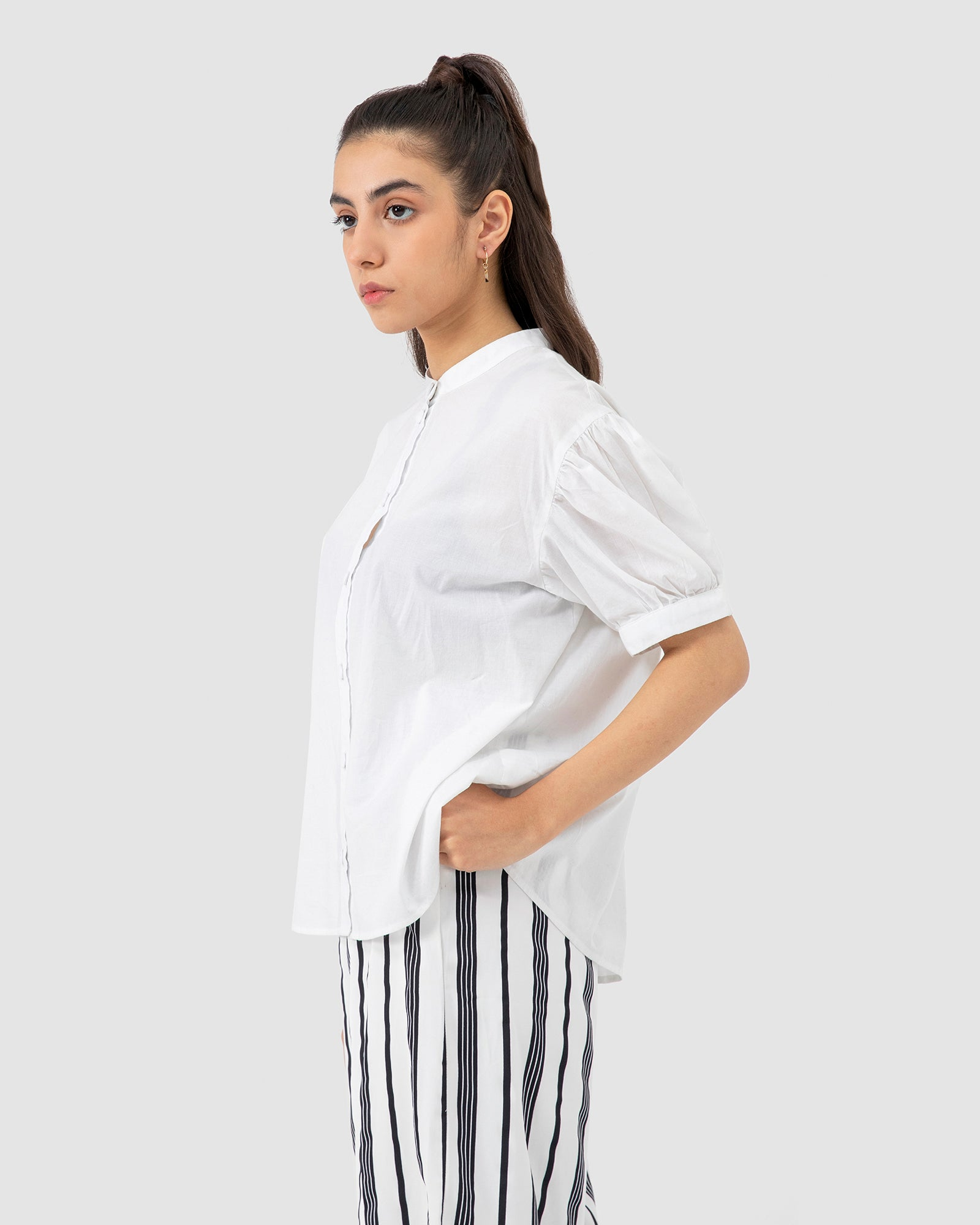Band Collar Shirt with Poof Sleeves