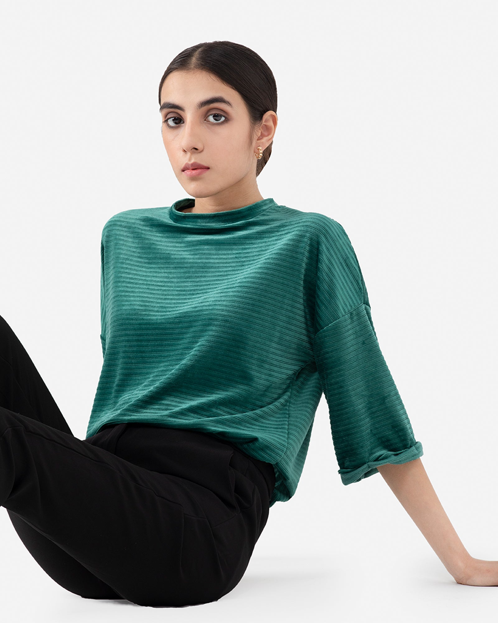 Ribbed Velour Top