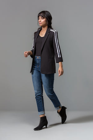 BLACK PLAIN BLAZER