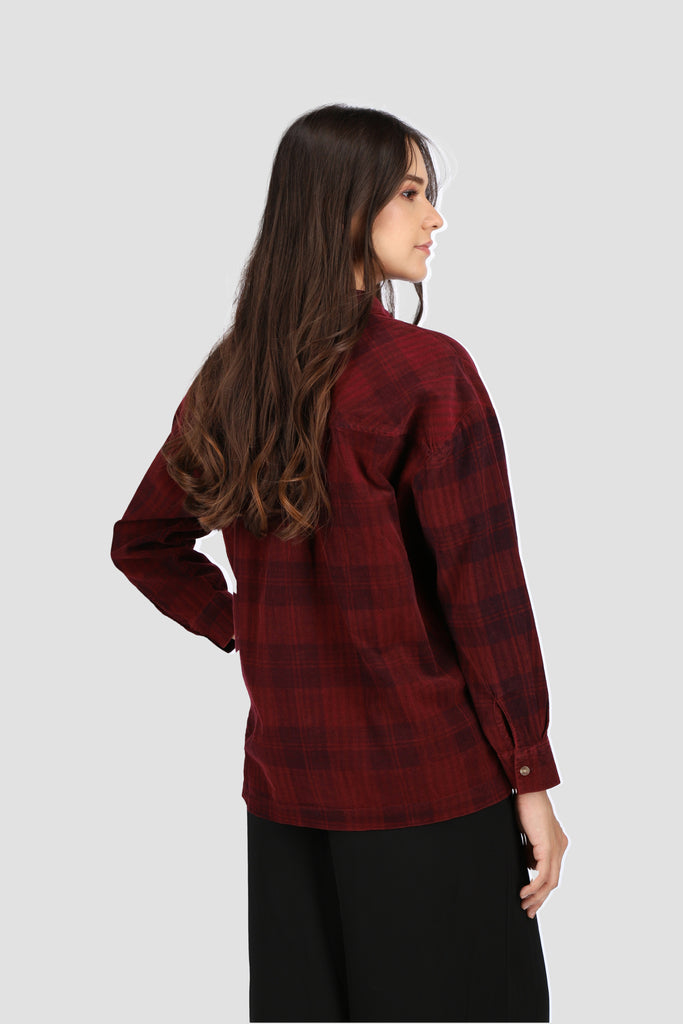 Maroon Plaid Button Down Shirt
