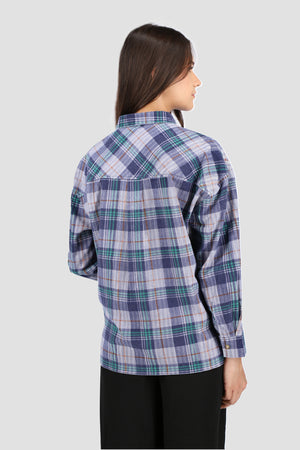 Navy Plaid Button Down Shirt