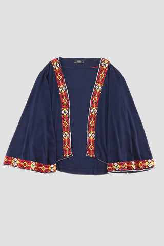 Navy Embroidered Shrug