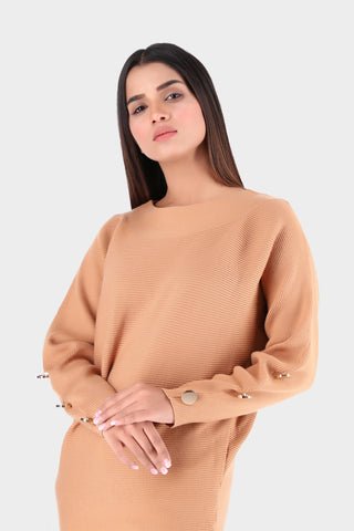 Crew Neck Camel Knitted Shirt