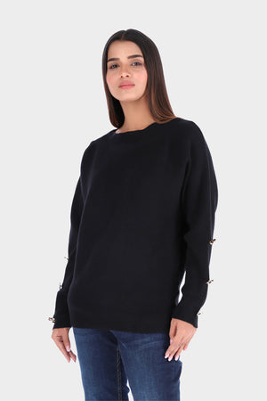 Crew Neck Black Knitted Shirt