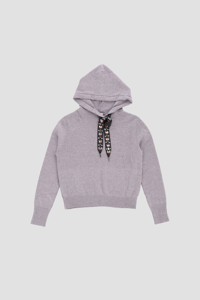 Long sleeves knitted hoodie