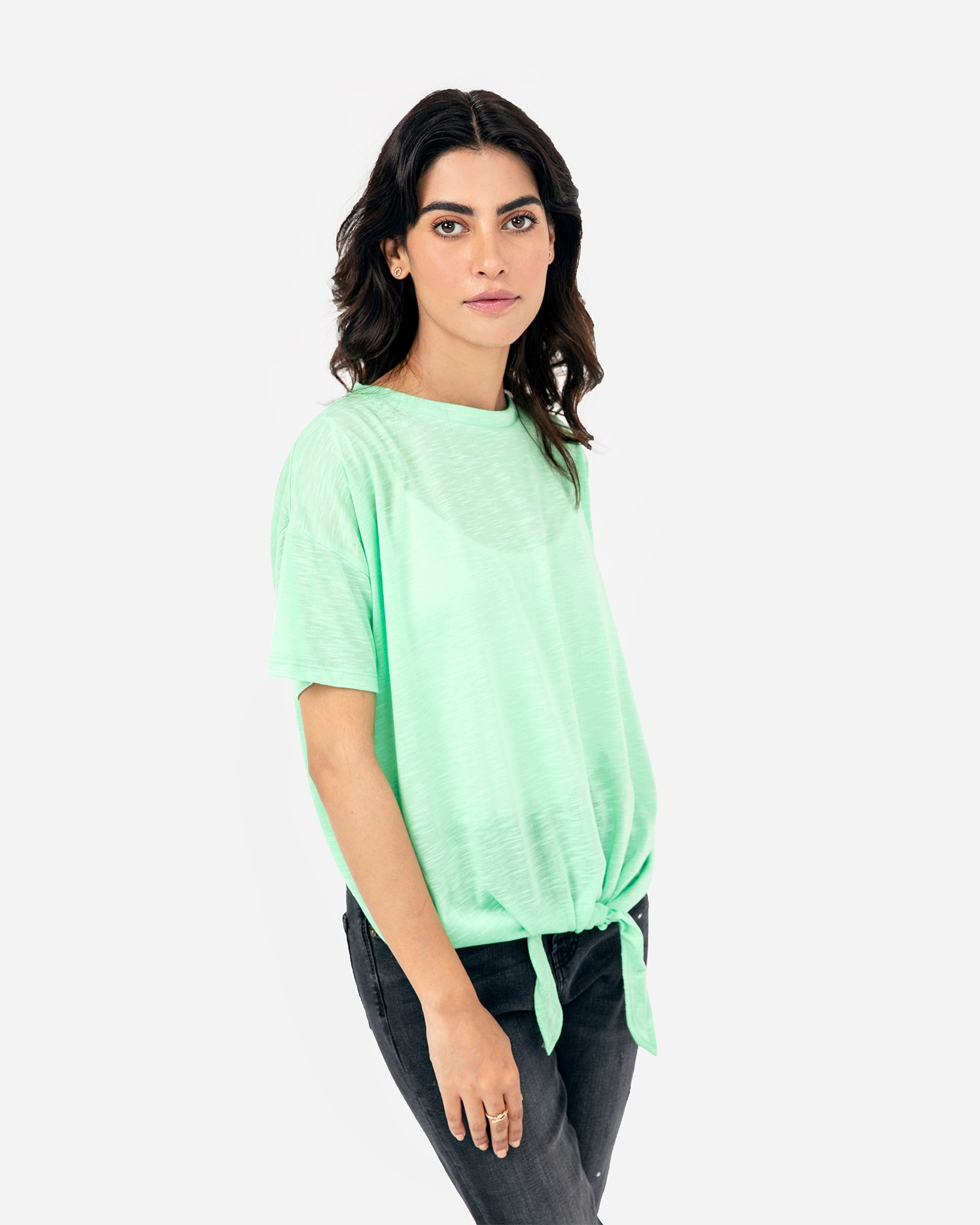 Solid Color Tee with Tie-Up Hem