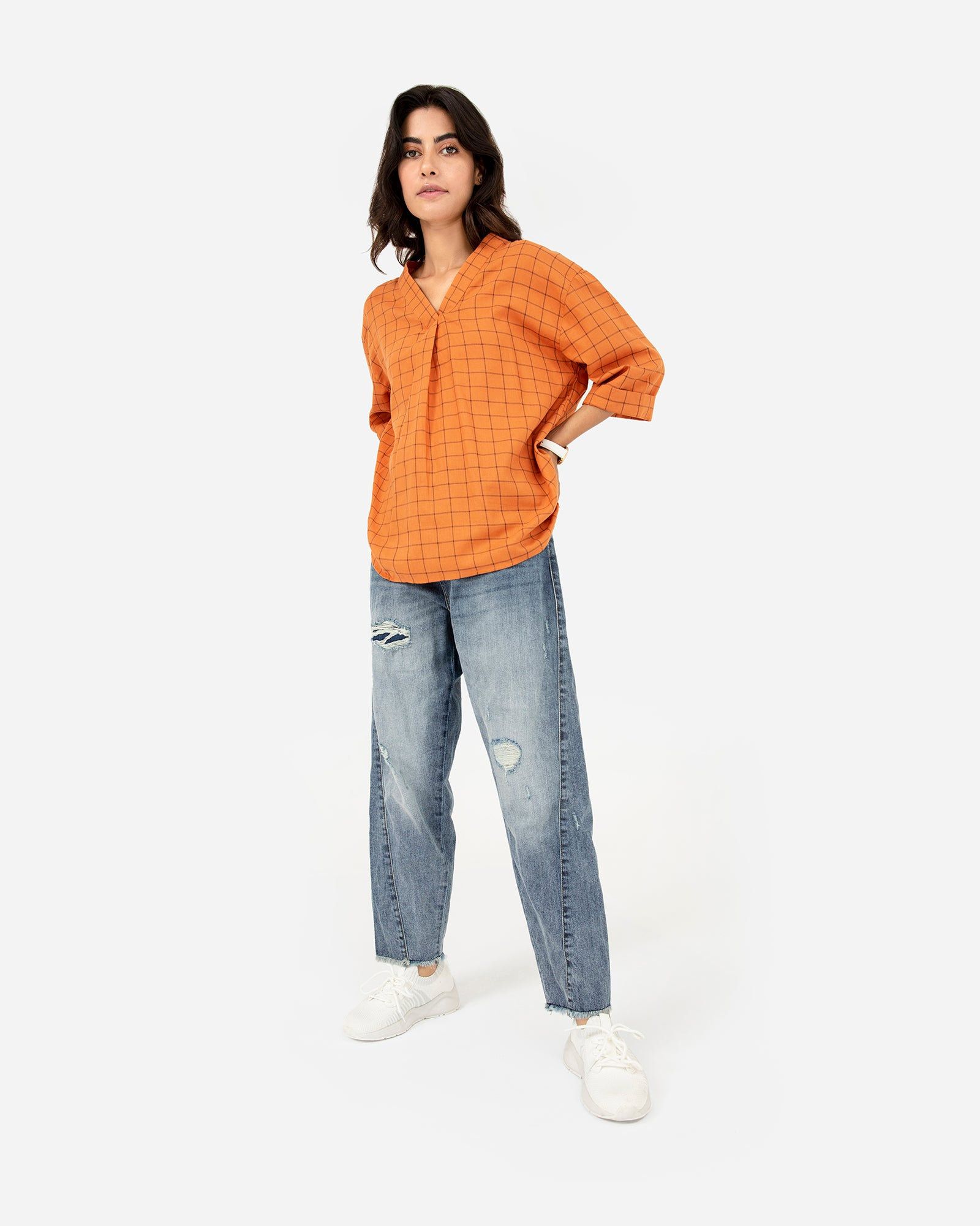 Checkered Top with Turned-Up Sleeves