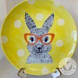 Easter Bunny Plate Kit Craft Kit from Dixie Dot Crafts. Paint at home or Zoom workshop
