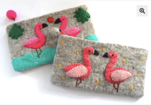 Flamingo Felt Purse (large)